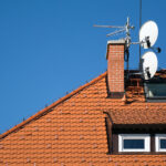 satellite antenna dish on the roof